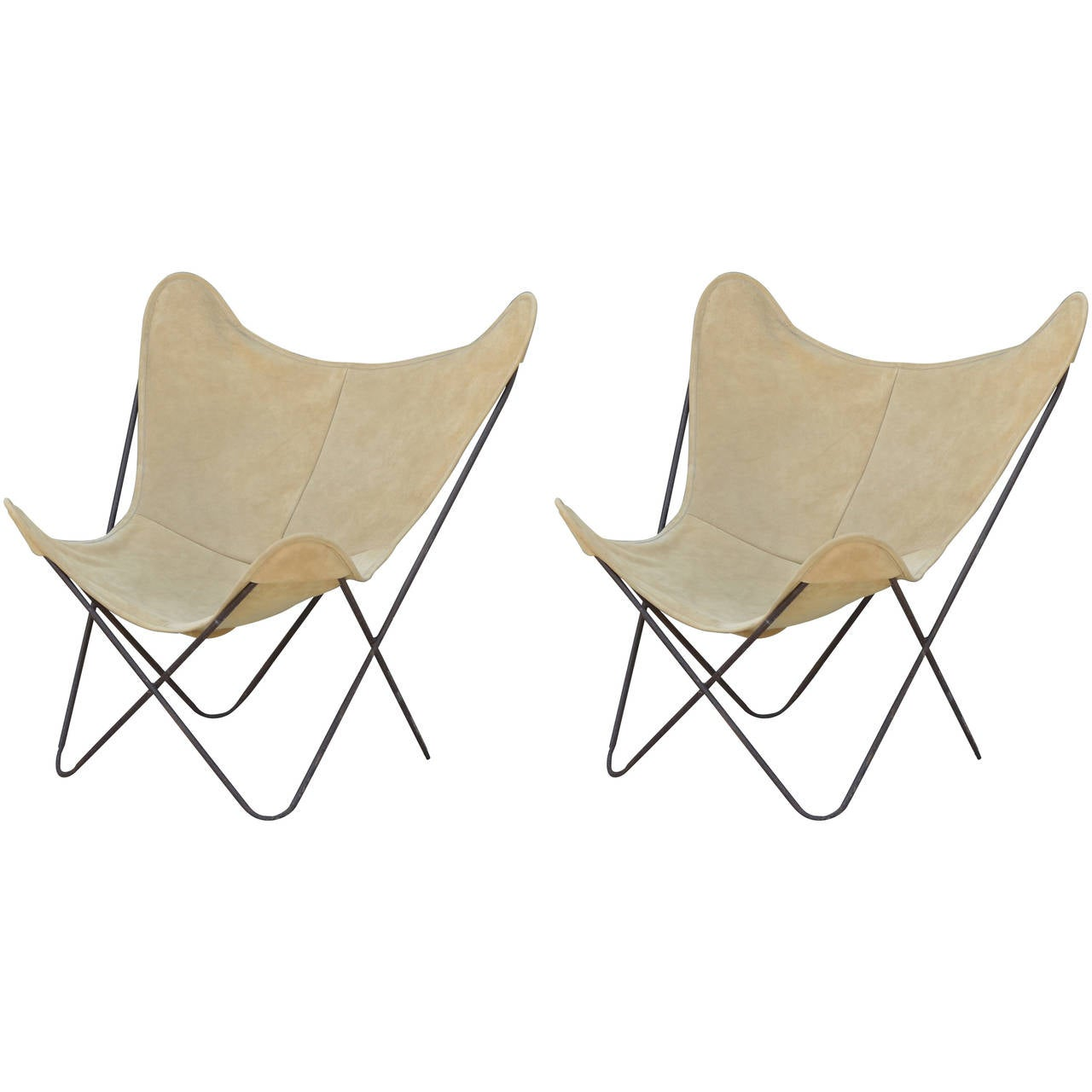 Butterfly chair original - Pair Of Original Vintage Hardoy Butterfly Chairs In Suede 1
