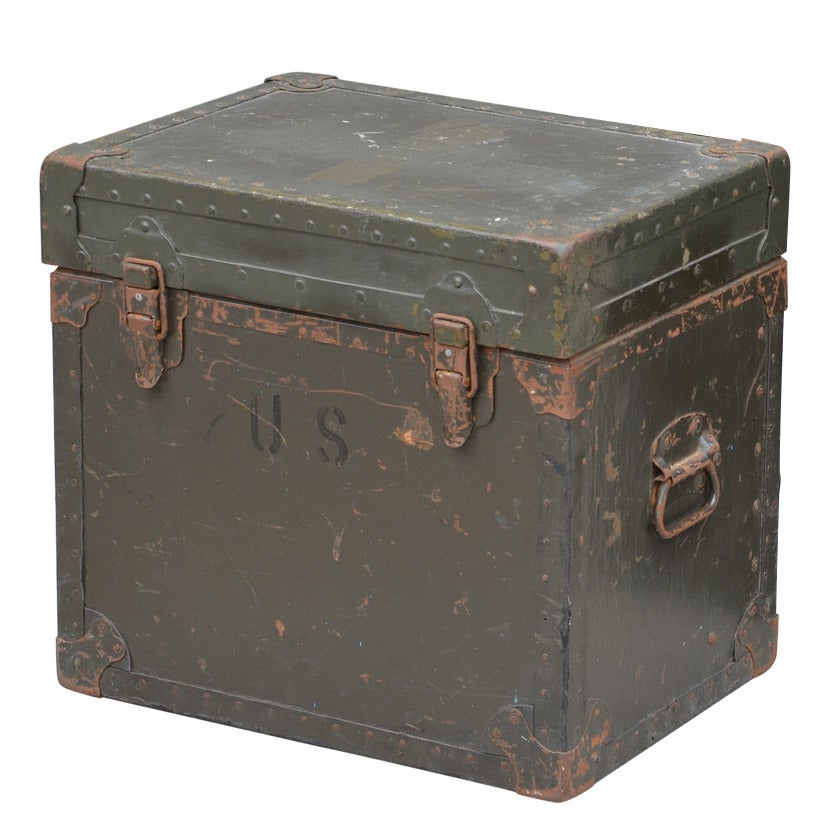 Compact Army Trunk Side Table For Sale At 1stdibs