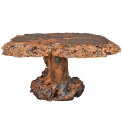 Stunning American 60's Burlwood Table With Stump Base