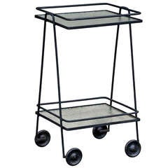Blackened Steel And Textured Glass Rolling Bar Cart / Side Table