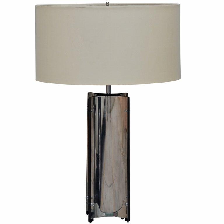 Chic Italian 70's Chrome Lamp with Custom Drum Shade by Gaetano Sciolari For Sale