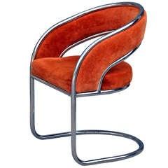 Unique 70's Orange Velvet And Chrome Armchair