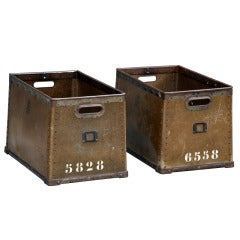 Pair Of Robust French Military Stacking Storage Boxes / Trunks