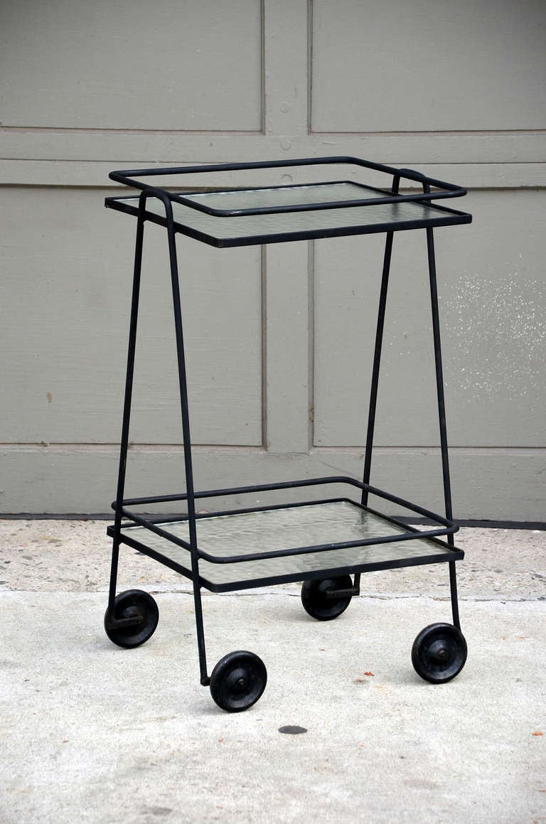 Blackened Steel And Textured Glass Rolling Bar Cart Side