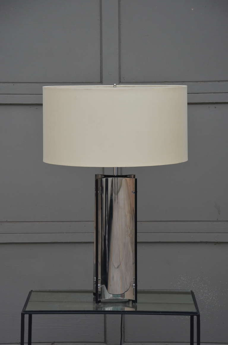 Chic Italian 70's Chrome Lamp with Custom Drum Shade by Gaetano Sciolari In Excellent Condition For Sale In Los Angeles, CA