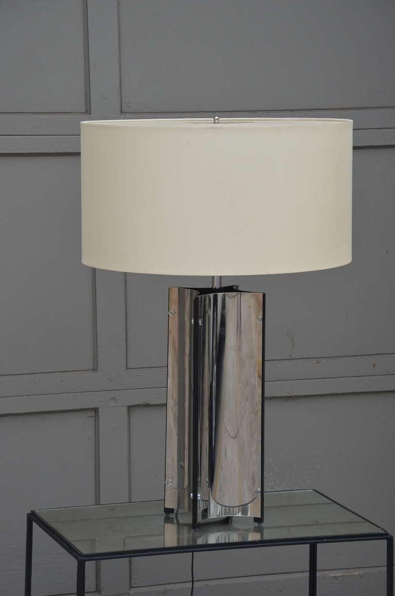 International Style Chic Italian 70's Chrome Lamp with Custom Drum Shade by Gaetano Sciolari For Sale