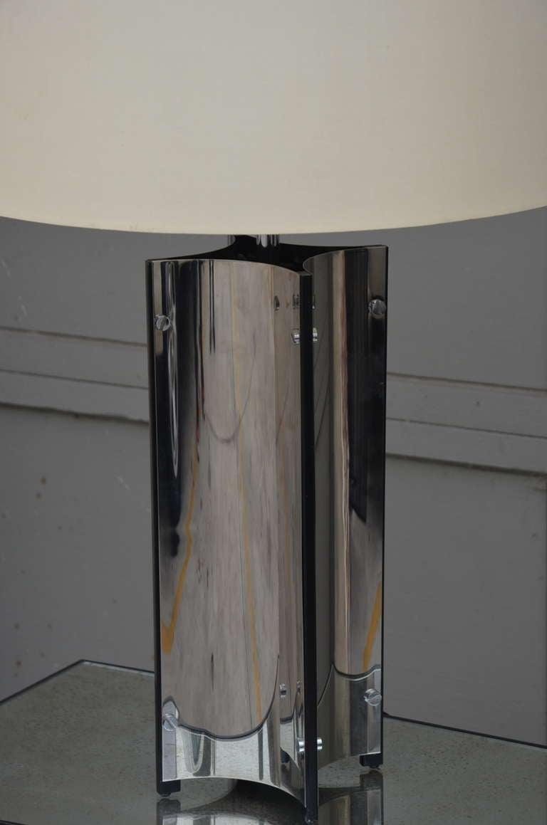 Late 20th Century Chic Italian 70's Chrome Lamp with Custom Drum Shade by Gaetano Sciolari For Sale