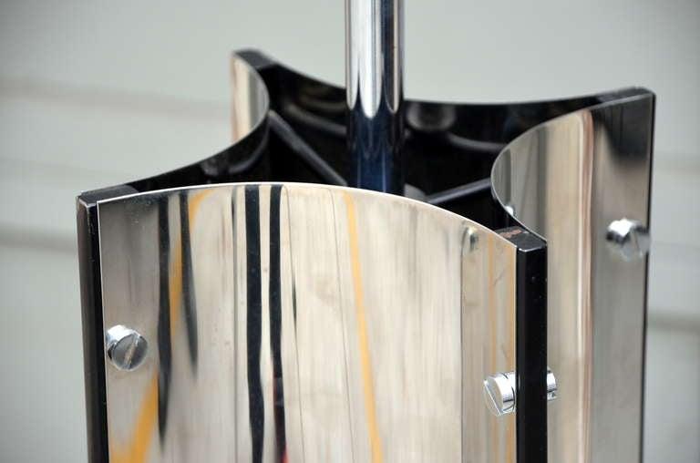 Chic Italian 70's Chrome Lamp with Custom Drum Shade by Gaetano Sciolari For Sale 2