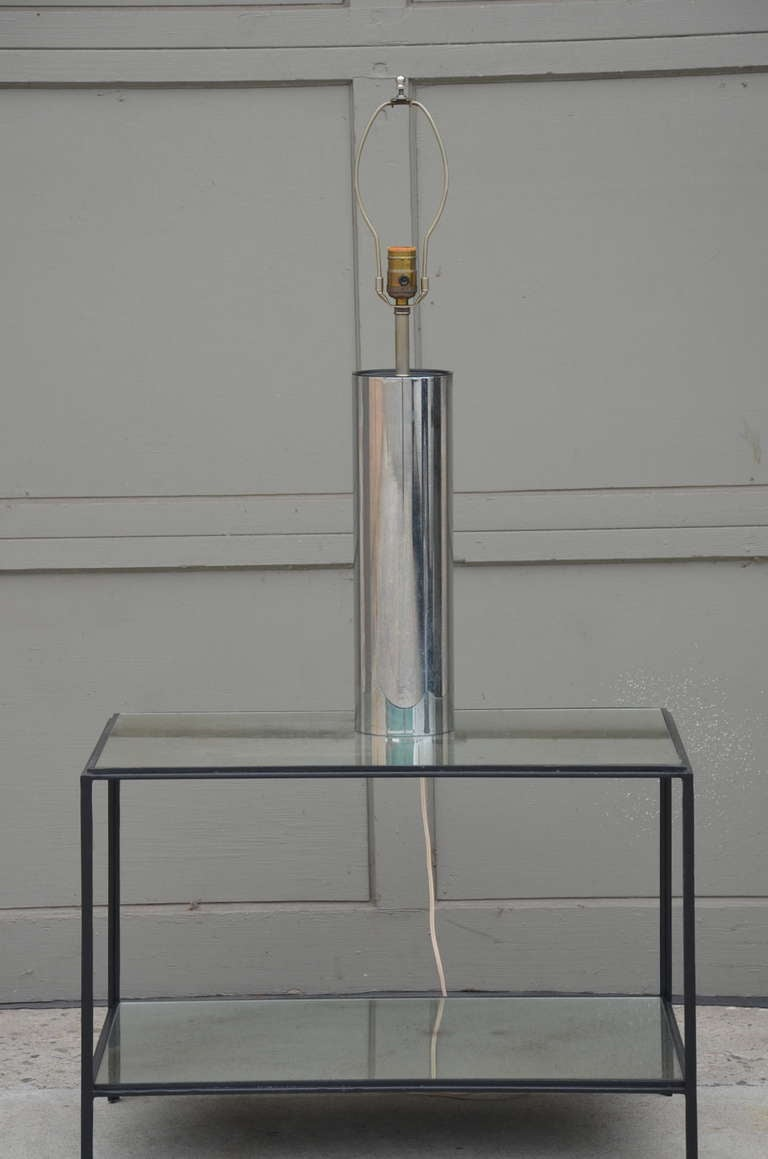 American Minimalistic Chrome Cylinder Table Lamp By George Kovacs For Sale