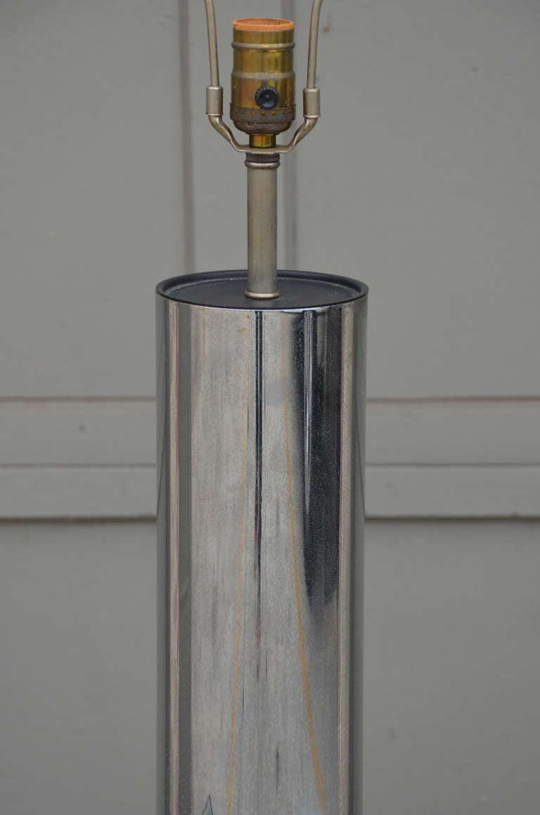 Minimalistic Chrome Cylinder Table Lamp By George Kovacs In Good Condition For Sale In Los Angeles, CA