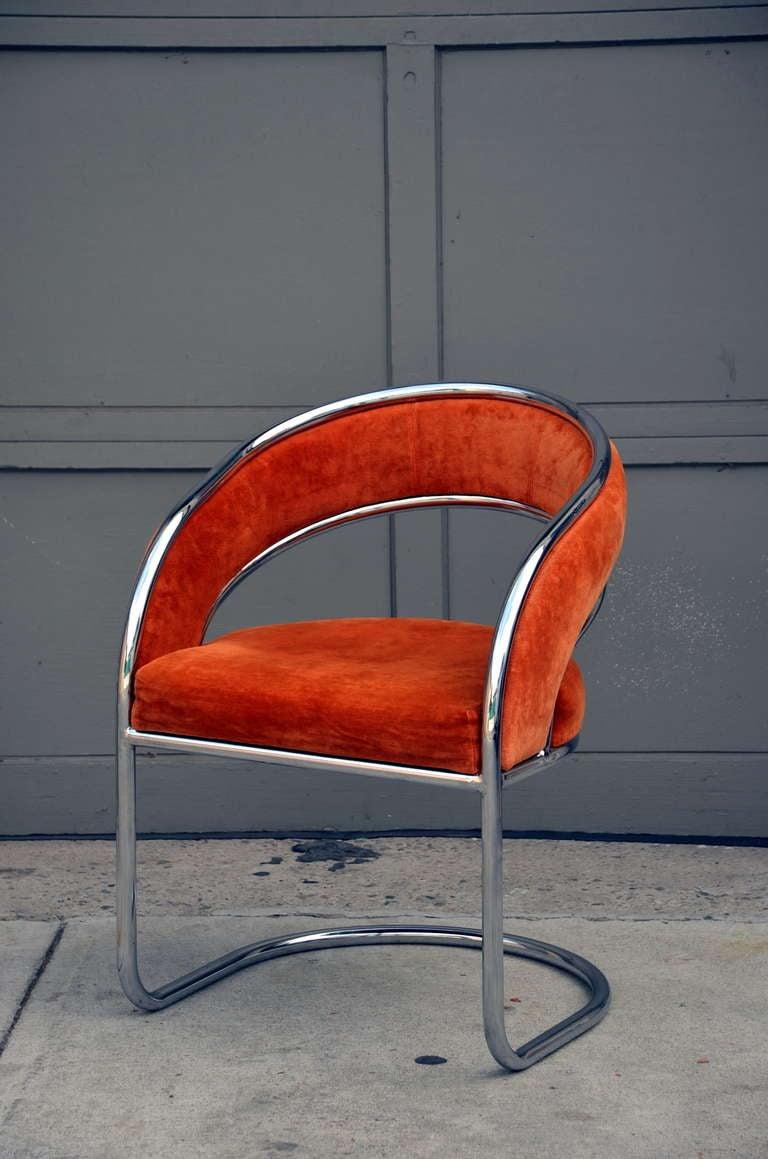 Unique 70u0027s Orange Velvet And Chrome Armchair 3
