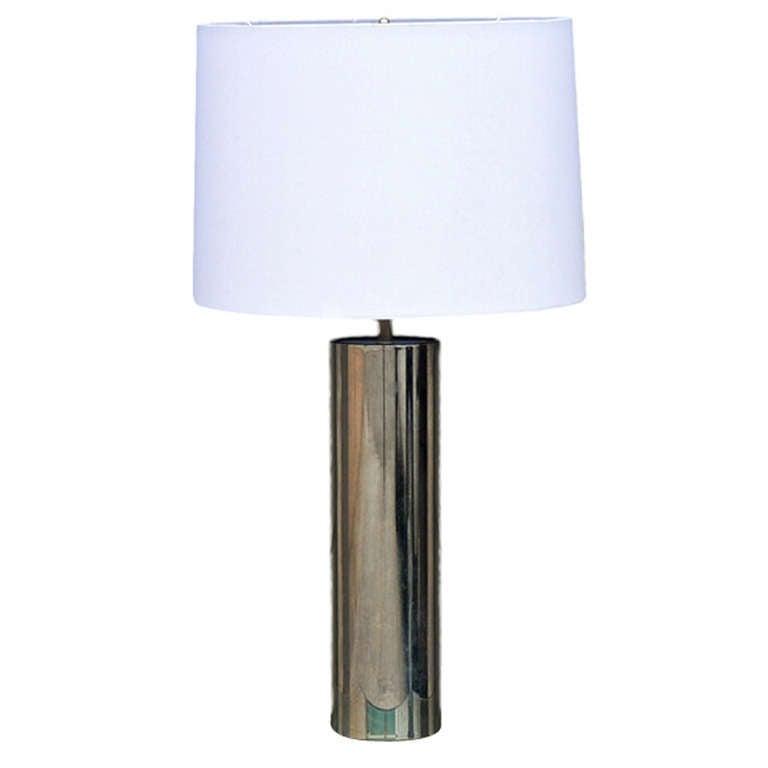 Nice Minimalistic Chrome Cylinder Table Lamp By George Kovacs 1