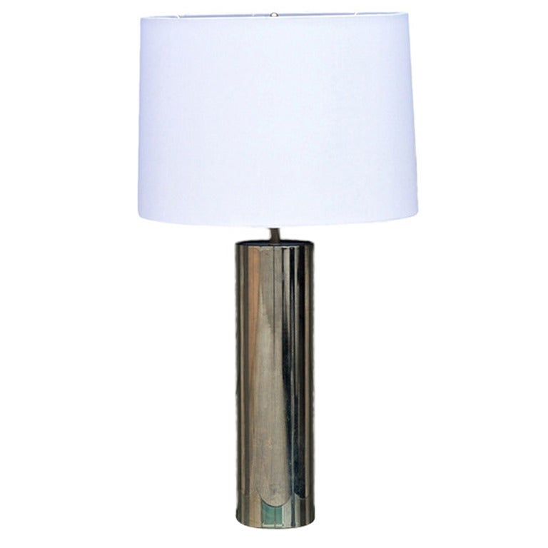 Minimalistic Chrome Cylinder Table Lamp By George Kovacs For Sale