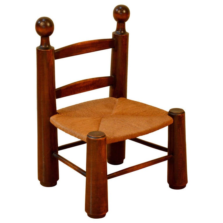 Single Turned Wood and Rush Children's Chair in the Style of Charlotte Perriand For Sale