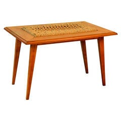 Rare Oak and Rope Side Table by Adrien Audoux and Frida Minet