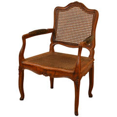 Elegant Caned Louis XV Period Walnut Armchair, circa 1760