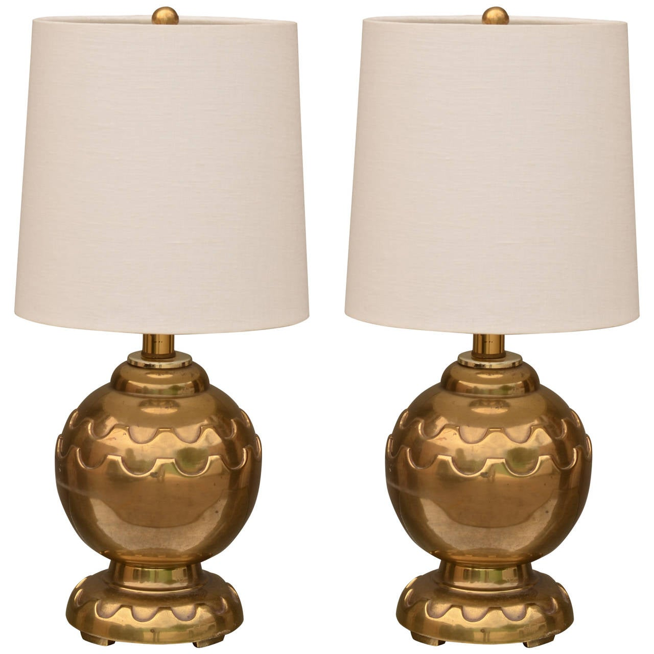 Pair of round brass table lamps with custom shades at 1stdibs pair of round brass table lamps with custom shades 1 geotapseo Gallery
