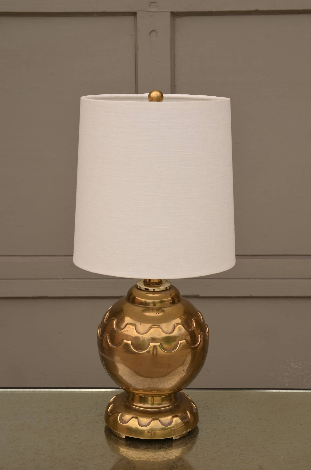 Pair Of Round Brass Table Lamps With Custom Shades At 1stdibs