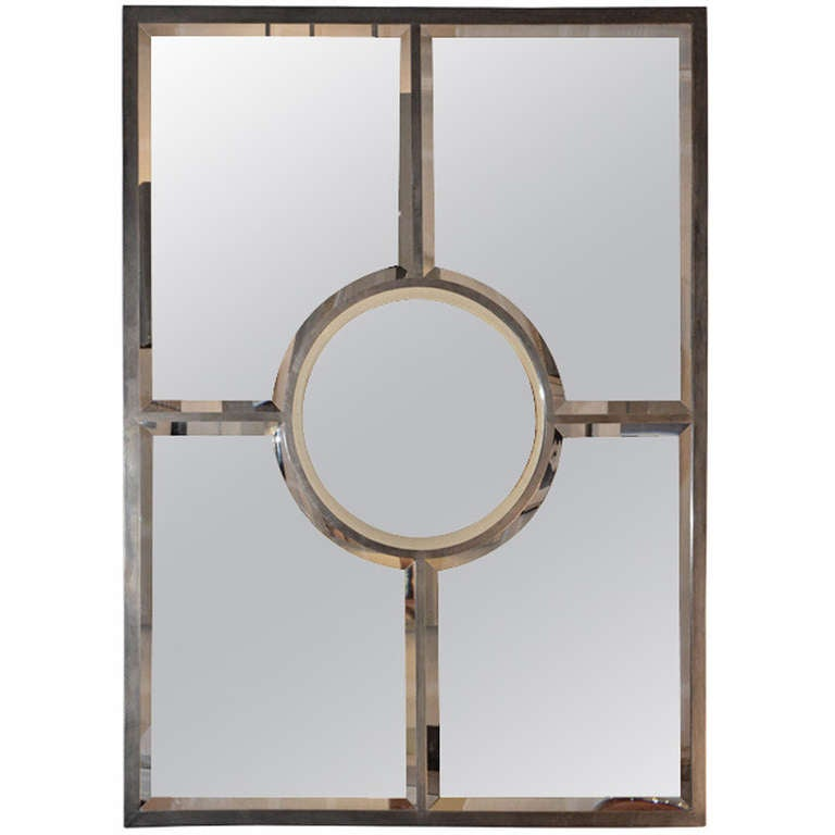 Chic Solid Brass Beveled Quadrature Mirror by Design Frères