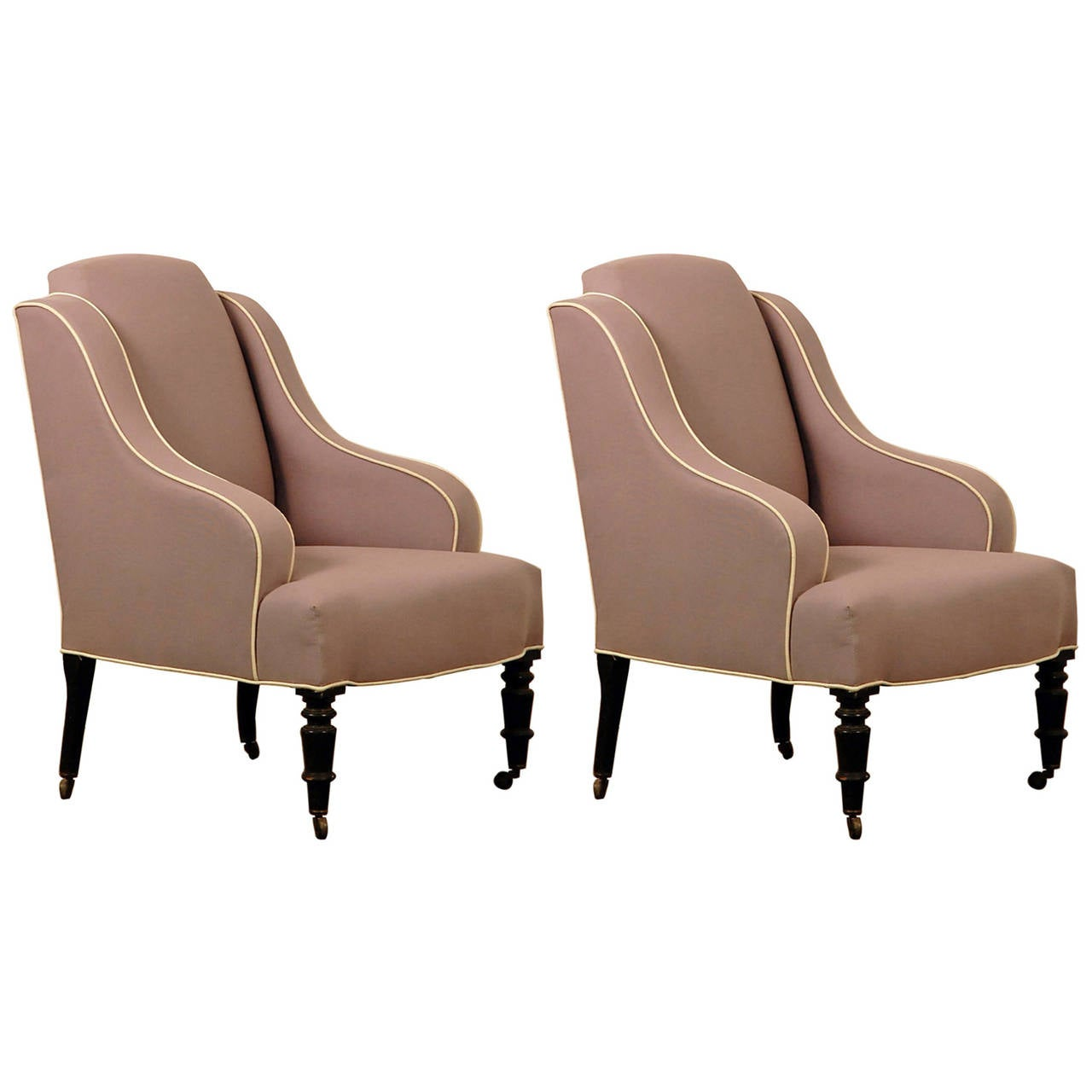 Pair of chic small Napoleon III bergeres