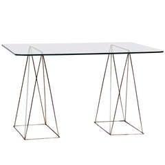 Minimalist Steel And Glass Trestle Table