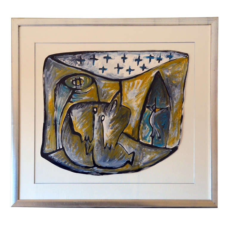 Framed gouache on paper drawing by Jean-Jacques Blot