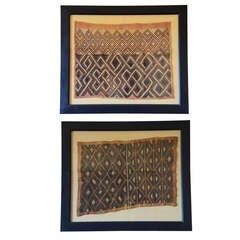 Pair of old framed Kuba textiles