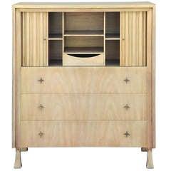 Exceptionnal Bleached Oak Dresser with Tamboured Doors by John Widdicomb