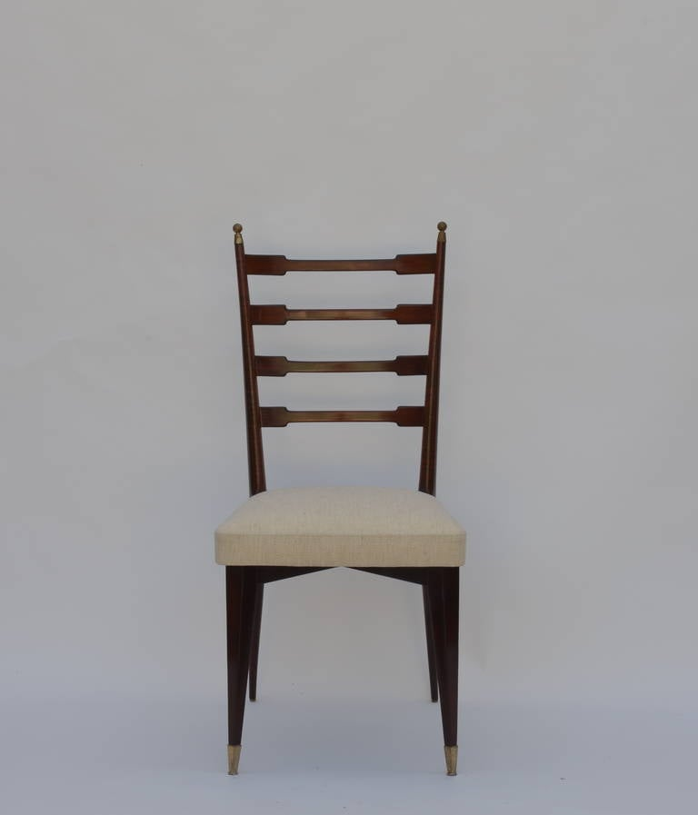 Modern Set of Six Exceptional Mid-Century Italian Dining Chairs For Sale