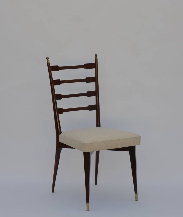 Set of Six Exceptional Mid-Century Italian Dining Chairs In Excellent Condition For Sale In Los Angeles, CA