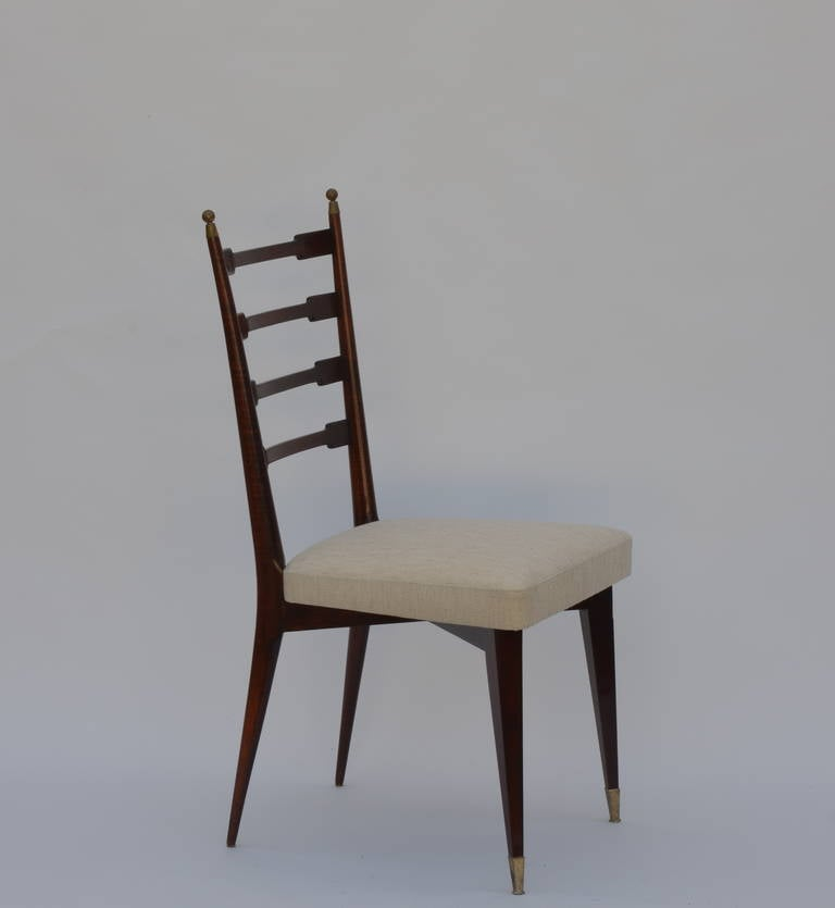 Set of six exceptional Mid-Century Italian dining chairs in the style of Gio Ponti. Very sturdy and comfortable.