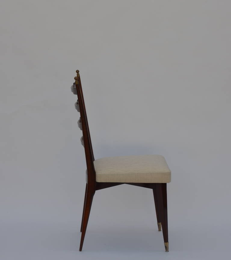 Mid-20th Century Set of Six Exceptional Mid-Century Italian Dining Chairs For Sale
