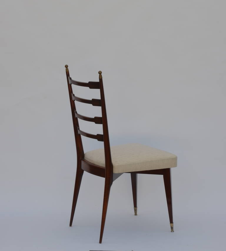 Bronze Set of Six Exceptional Mid-Century Italian Dining Chairs For Sale