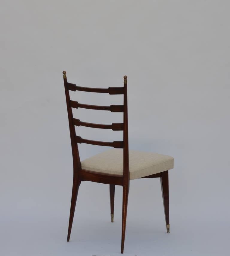 Set of Six Exceptional Mid-Century Italian Dining Chairs For Sale 1