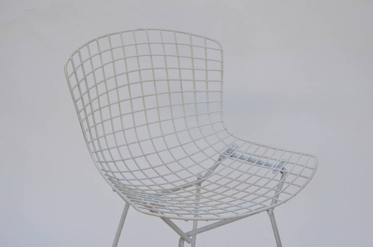 Metal Set of Four Original Wire Chairs by Harry Bertoia for Knoll For Sale