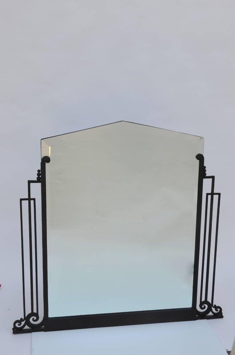 Elegant Iron Wall Decor : Elegant french art deco wrought iron and beveled mirror at