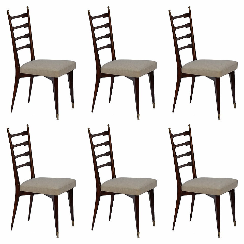 Set of Six Exceptional Mid-Century Italian Dining Chairs