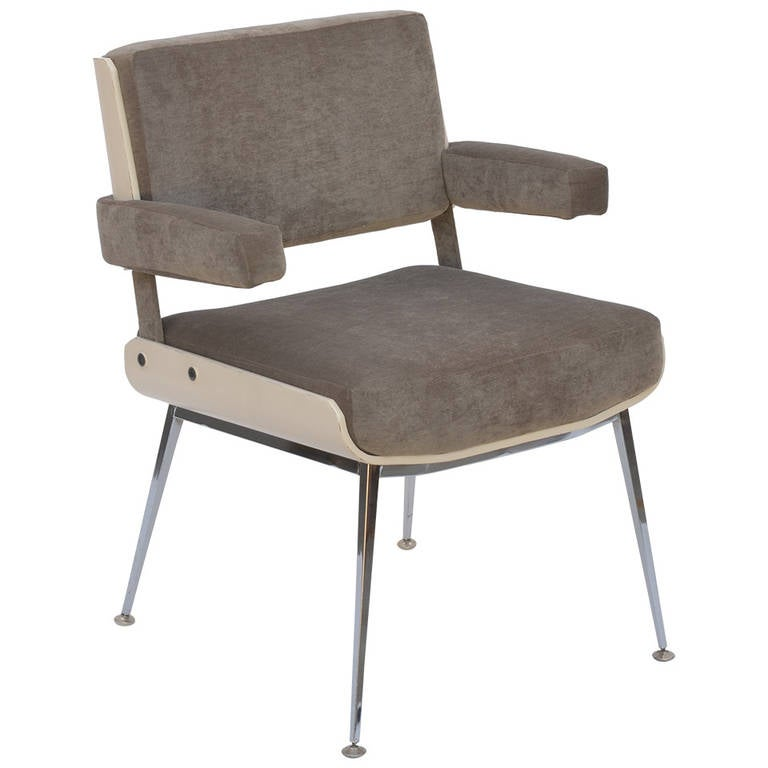 Rare White Lacquer and Chrome Armchair by Alain Richard