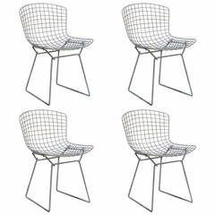 Set of Four Original Wire Chairs by Harry Bertoia for Knoll