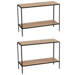 Pair of Chic Wrought Iron and Oak 'Rectiligne' End Tables by Design Frères