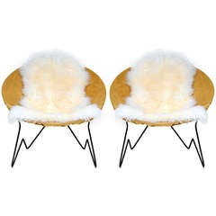 Pair of Round Suede Lounge Chairs with Sheepskin Throws