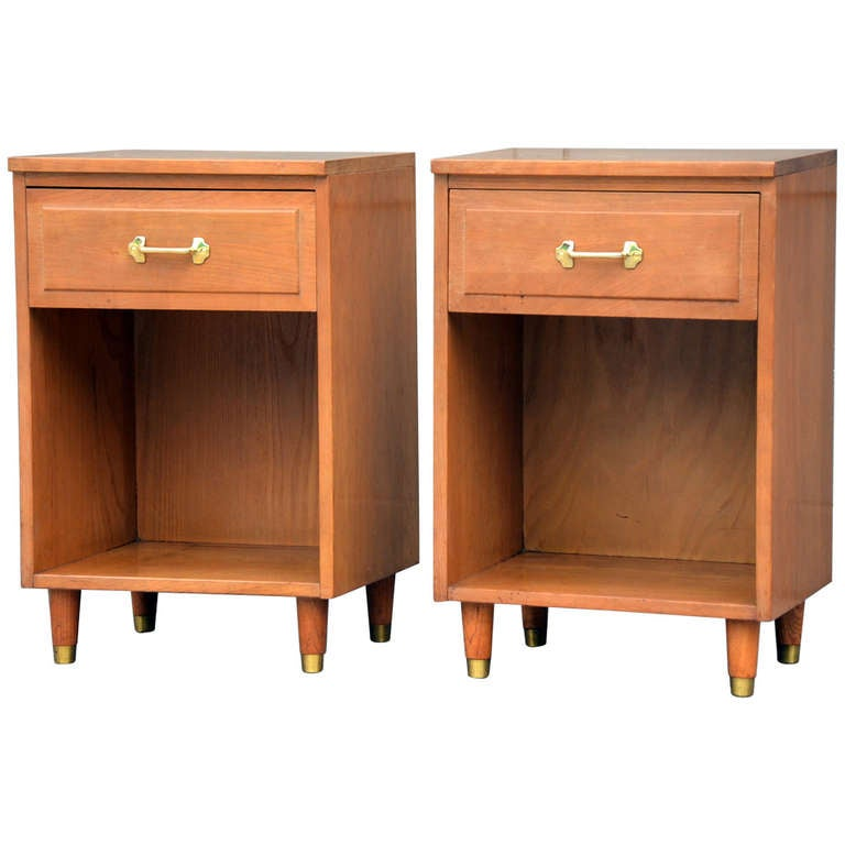 Pair of Mid 20th Century Modern Solid Hard Mountain Ash Night Stands