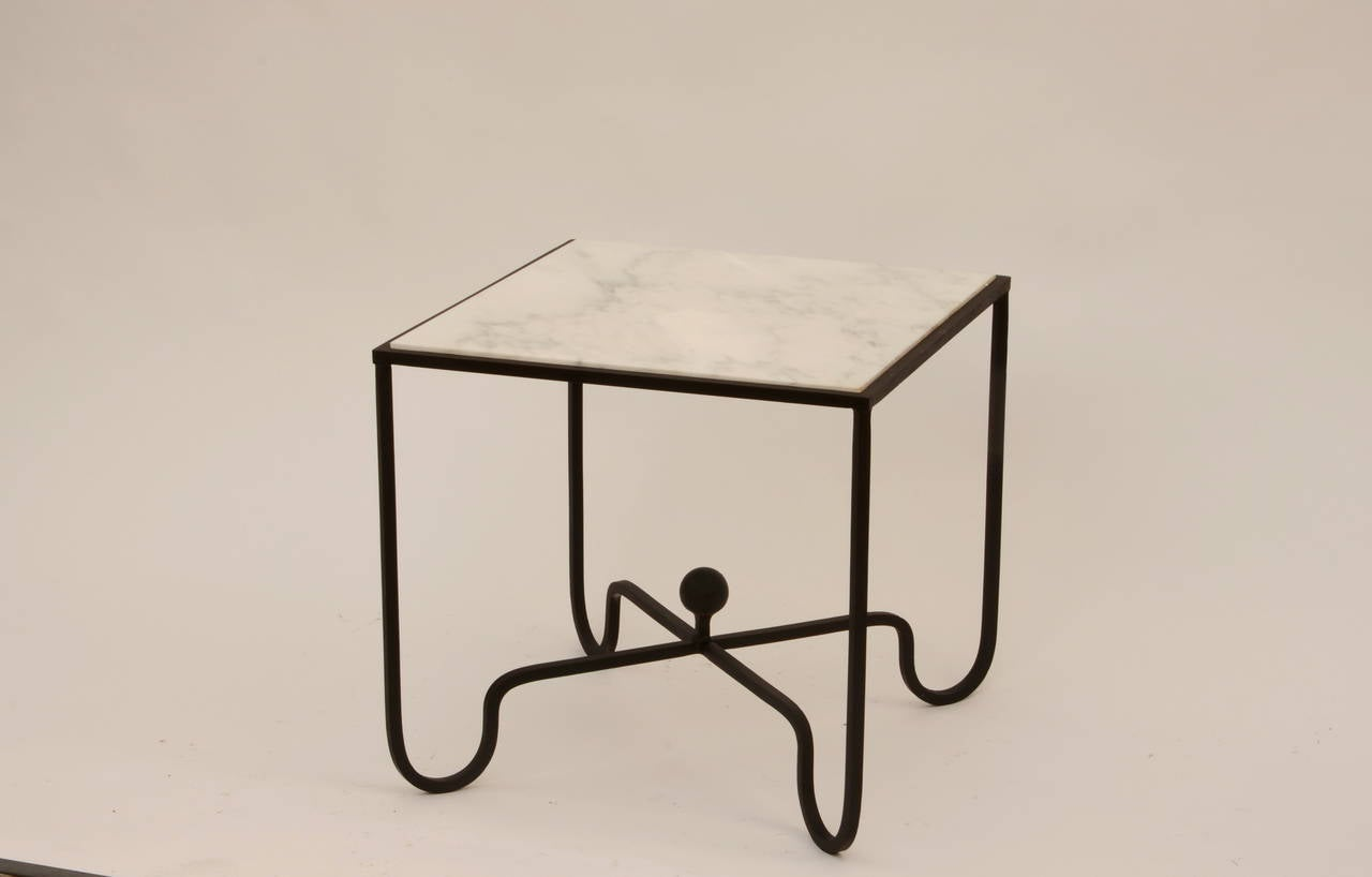Pair Of White Marble And Wrought Iron Side Tables After Mathieu Matégot 2