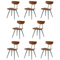 Set of 8 Bentwood Industrial Chairs
