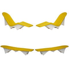 Rare Set Of 4 Matching Yellow Fiberglass 60's Pool Loungers