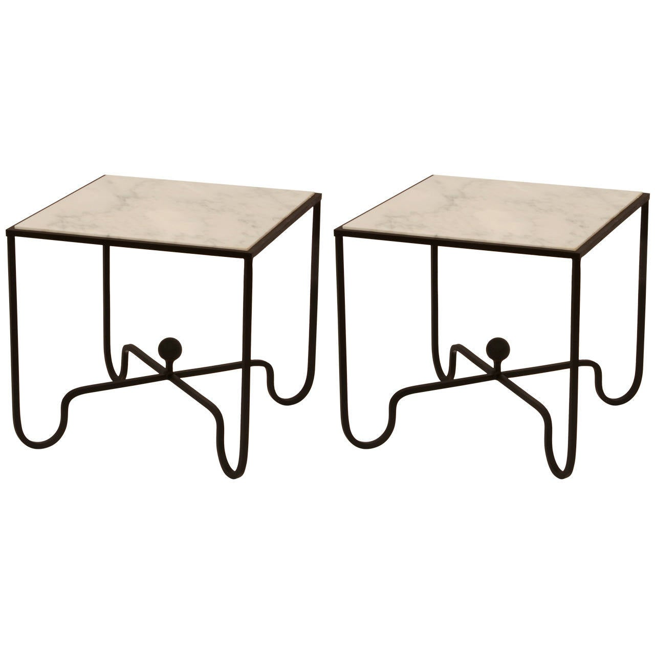 Pair of white marble and wrought iron side tables after for Wrought iron side table