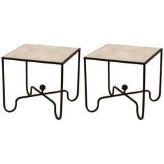 Pair of White Marble and Wrought Iron Side Tables after Mathieu Matégot