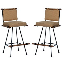 Pair of swiveling bar stools by Cleo Baldon for Terra