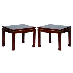 Pair of chic French 60's Asian inspired lacquer tables