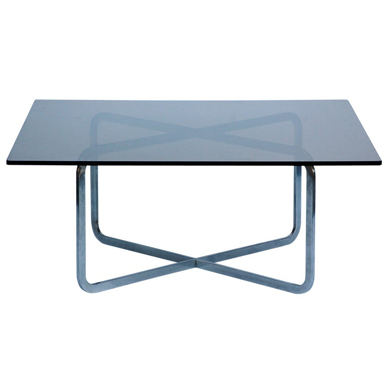 Brushed Steel And Smoked Glass Coffee Table in the style of Michel Boyer